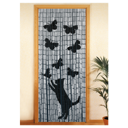 Rideau bambou chat & papillons
