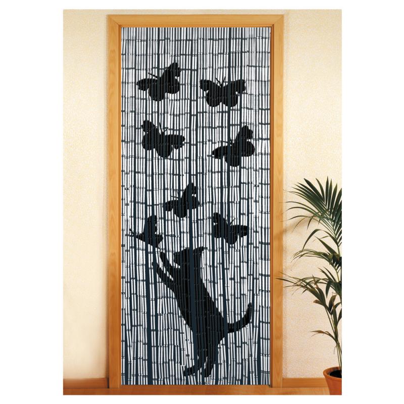 Rideau bambou chat & papillons