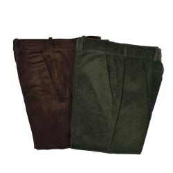 Pantalon Velours Extensible Vert